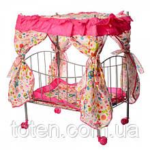 Ліжечко для ляльок з балдахіном 9350 металева, матрацик, подушка. Т
