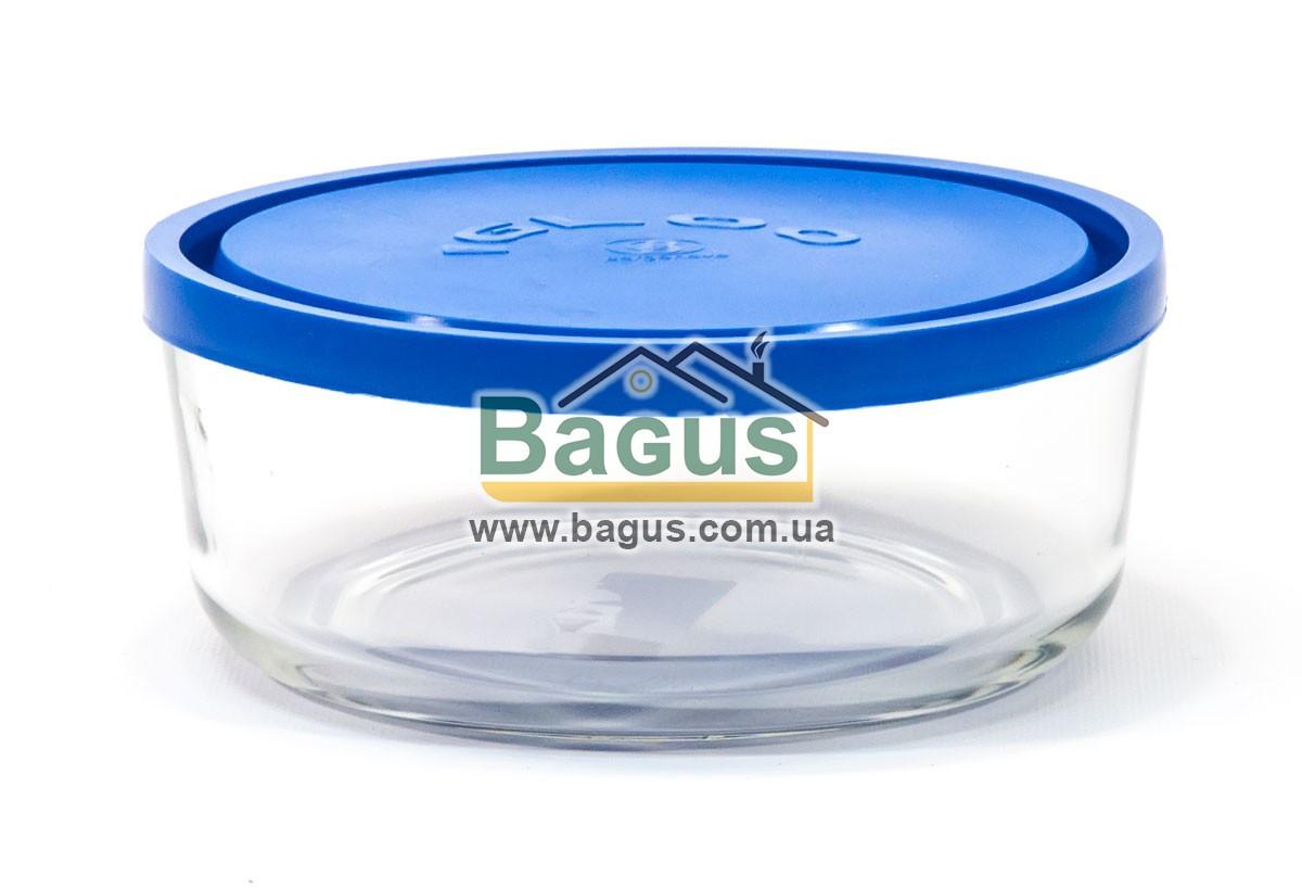 Емкость (судок) для продуктов 1,47л 18см круглая стеклянная с пластиковой синей крышкой Borgonovo 14066902-1