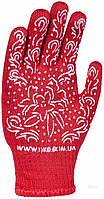 622 Рукавиці Жіночі ЧЕРВОНІ/ бііле ПВХ квітка Doloni