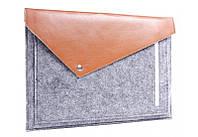 Коричневый фетровый чехол-конверт Gmakin для Macbook Air/Pro 13.3'' с экокожей (GM12)