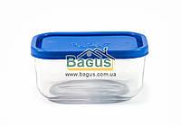 Емкость (судок) для продуктов 0,4л 13,5х9,5см прямоугольная стеклянная, пластиковая крышка Borgonovo 14068000, фото 1