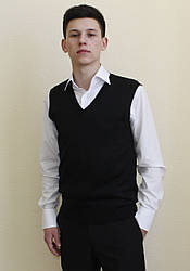 Мужской  черный вязанный жилет
