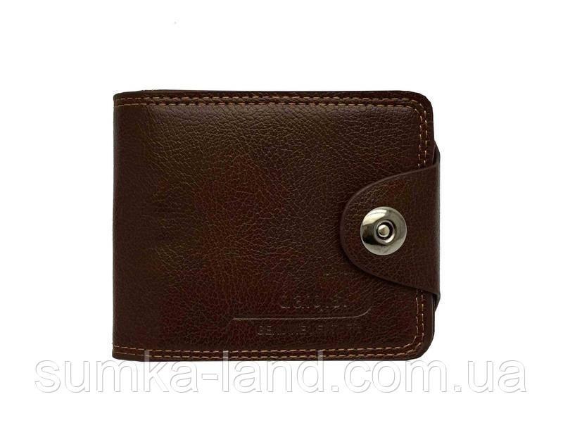 Мужской  кошелек из искусственной кожи на магнитной кнопке (коричневый)