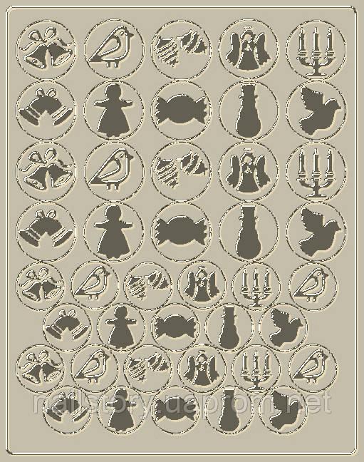 Новогодний трафарет для аэропуффинга и Deep дизайна ногтей №45 серебряный