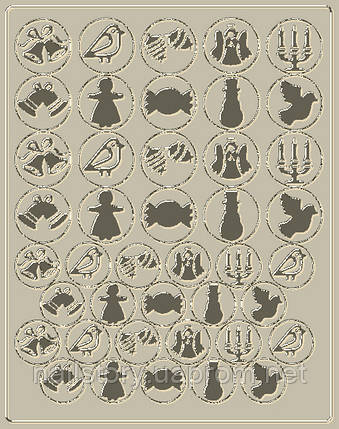 Новогодний трафарет для аэропуффинга и Deep дизайна ногтей №45 серебряный, фото 2