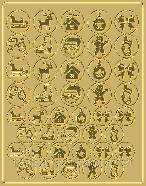 Новогодний трафарет для аэропуффинга и Deep дизайна ногтей №47 золотой