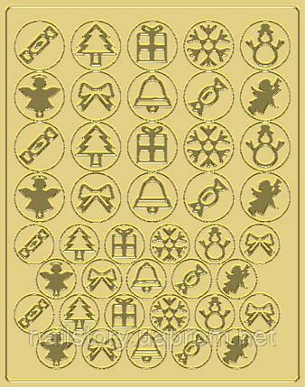 Новогодний трафарет для аэропуффинга и Deep дизайна ногтей №48 золотой, фото 2