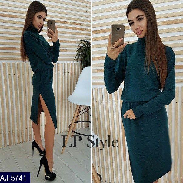 Зеленое платье-туника ангора