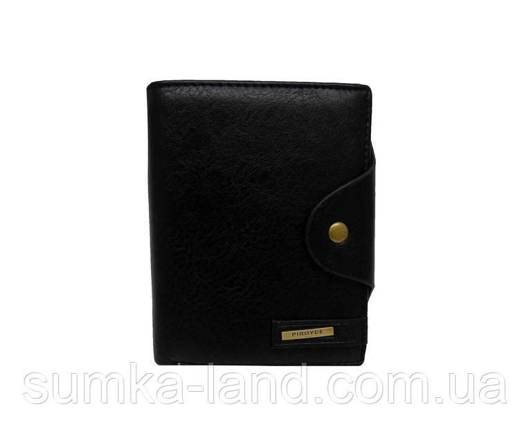 Мужской черный горизонтальный кошелек из искусственной кожи на кнопке