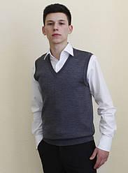 Мужской  вязанный жилет серого цвета