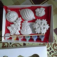 Новогодний набор гипсовых фигурок для творчества. Різдвяний набір гіпсових фігурок для творчості №36
