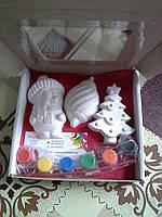 Новогодний набор гипсовых фигурок для творчества. Різдвяний набір гіпсових фігурок для творчості №37