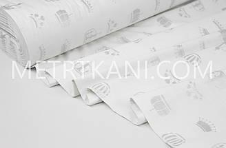 """Тканина ранфорс Туреччина 240 см """"Корони"""" (гліттер) посріблені на білому№ WH-2961-25"""