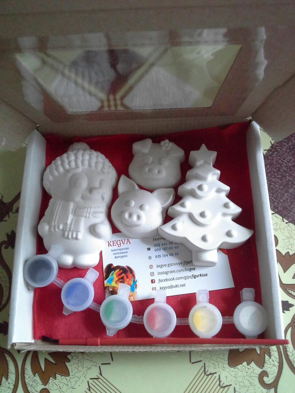 Новогодний набор гипсовых фигурок для творчества. Різдвяний набір гіпсових фігурок для творчості №38