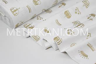 """Тканина ранфорс Туреччина 240 см """"Корони"""" (гліттер) золоті на білому№ WH-2961-26"""