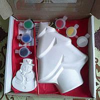 Новогодний набор гипсовых фигурок для творчества. Різдвяний набір гіпсових фігурок для творчості №39