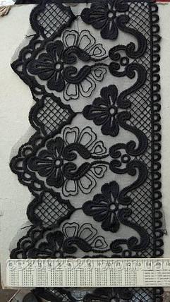 Бант макраме 14 метров айвори. Бант органза вышитая сетка. Вышивка на сетке для пошива и декора черный. Бант органза вышитая. Бант сетка вышивка декоративная. Для пошива одежды, фото 2