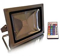 Светодиодный прожектор RGB 20 Вт пульт в комплекте IP65 серебро Код.56676