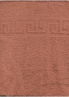 Махровое полотенце 50*90, 100% хлопок 400 гр/м2, Туркменистан, кофе с молоком с греческим бордюром