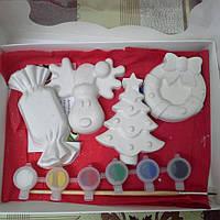 Новогодний набор гипсовых фигурок для творчества. Різдвяний набір гіпсових фігурок для творчості №40