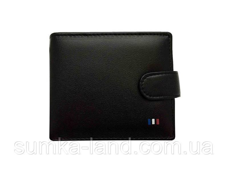 Мужской кошелек из искусственной кожи на кнопке (черный)