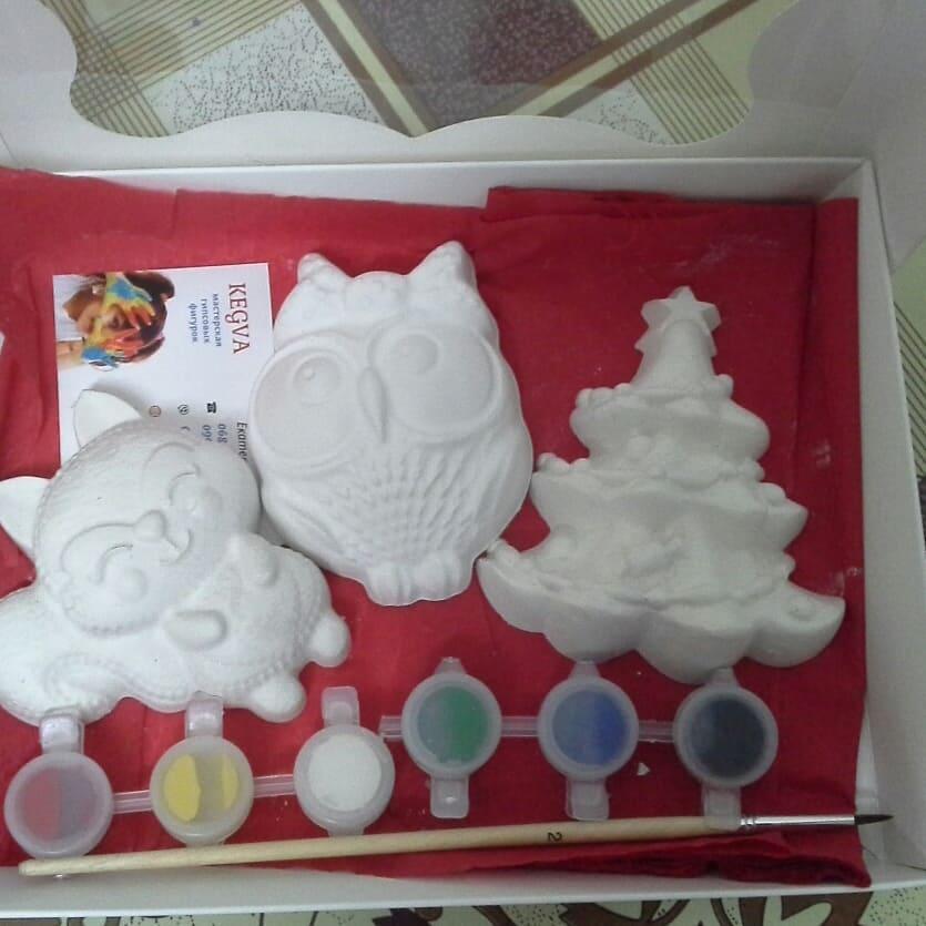 Новогодний набор гипсовых фигурок для творчества. Різдвяний набір гіпсових фігурок для творчості №41