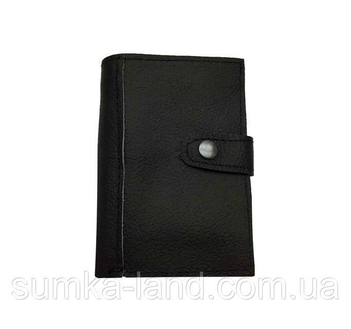 Мужской черный кожаный кошелек на кнопке
