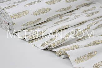"""Тканина ранфорс Туреччина 240 см """"Пір'я"""" (гліттер) золоті на білому № WH-2960-11"""