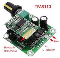Bluetooth Підсилювач 2*15Вт TPA3110 8-26V 4-8Ohm, фото 1