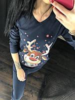 "Тёплая пижама женская ""Веселый олень"", ткань интерлок, TM Fawn. Размеры норма: 42-44, 46-48, 50-52."
