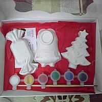 Новогодний набор гипсовых фигурок для творчества. Різдвяний набір гіпсових фігурок для творчості №43