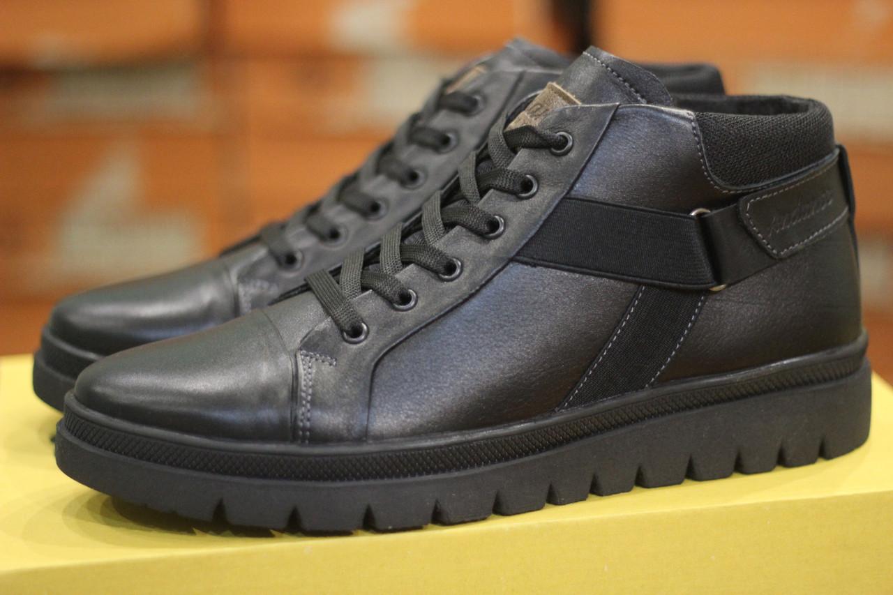 Зимние мужские ботинки черные из натуральной кожи на меху в стиле Andante city 152m 41, 43, 44, 45