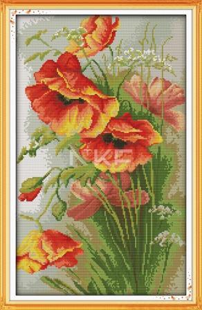 Маки H325/4 Набор для вышивания крестиком с печатью на ткани 14ст