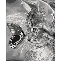 """Картина по номерам """"Котенок и бабочка"""" 40х50см"""