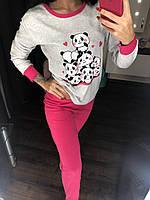 """Тёплая пижама женская """"Панды"""", ткань интерлок, TM Fawn. Размеры норма: 42-44, 46-48, 50-52."""