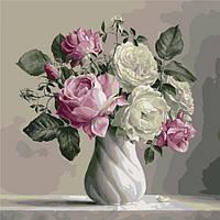 Картина по номерам Нежный букет роз 40*50 см, 3 уровень сложности