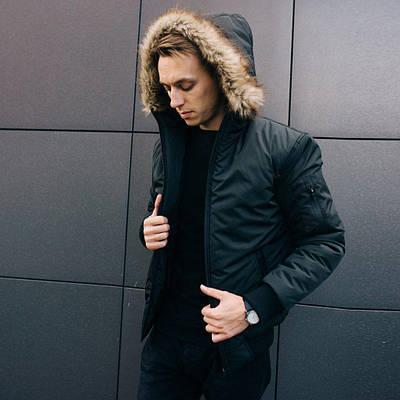 Зимняя мужская черная куртка парка размер S, M, L, XL