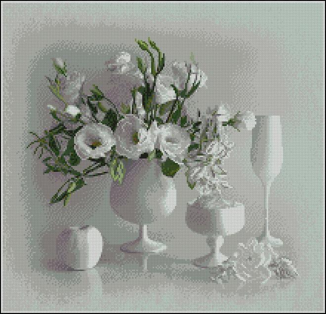 Белый натюрморт H328 Набор для вышивания крестиком с печатью на ткани 14ст