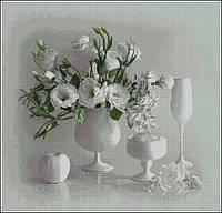 Белый натюрморт Набор для вышивания крестиком с печатью на ткани 14ст