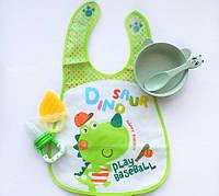 """Набор с эко посудой """"Панда"""" зеленый, фото 1"""