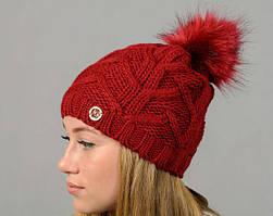Модная вязанная женская зимняя шапка