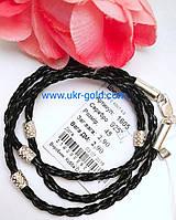 Серебряный шнурок из кожаной плетёной косички , арт 1605