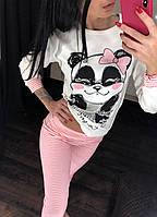 """Тёплая пижама женская """"Панда"""", ткань интерлок, TM Fawn."""