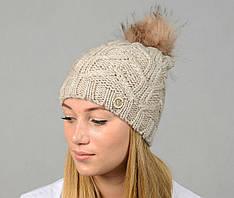Женская молодежная шапка с помпоном