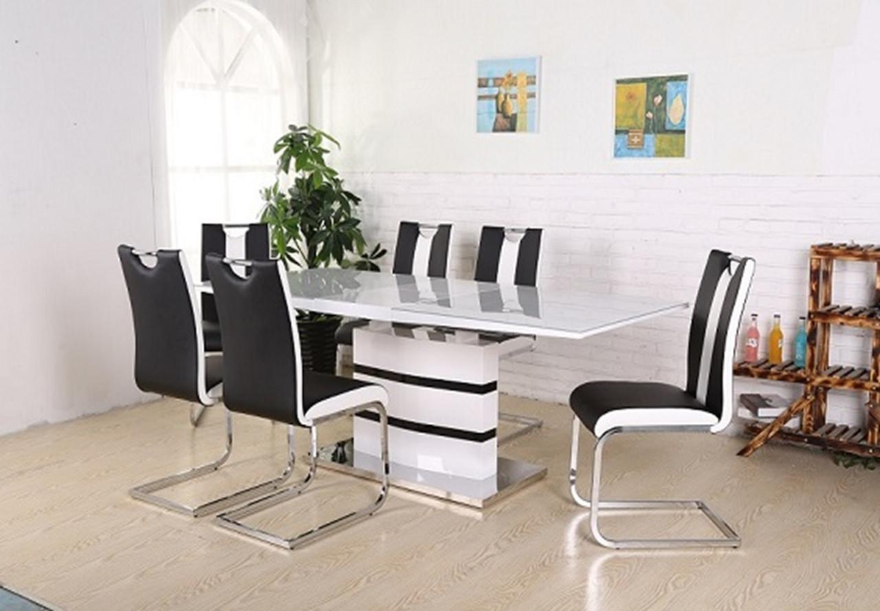 Раздвижной стол Филадельфия DT-9108G  черно- белый 120/160