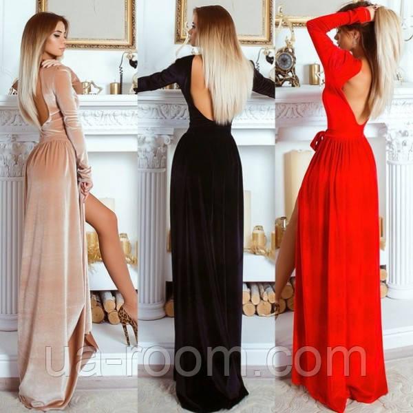 Женское бархатное платье в пол №530