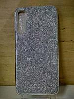Силиконовый блестящий серебристый чехол Samsung Galaxy J4 Plus 2018 (J415)