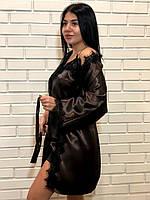 Халат с кружевом женский в комплекте майка шорты