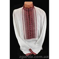 Мужская сорочка вышита в двух тонах красного (воротник 38-47)
