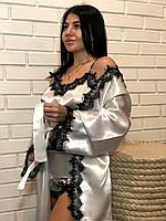 Белый атласный комплект халат майка и шорты